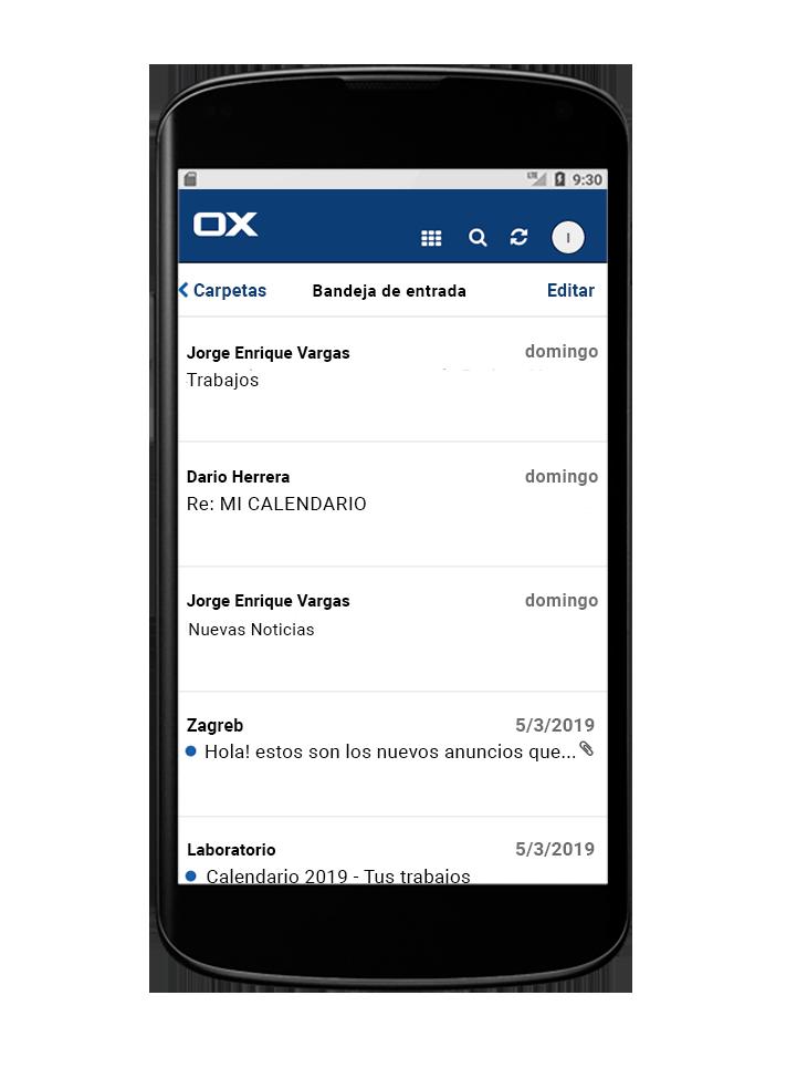 Aplicación OX para correos ilimitados