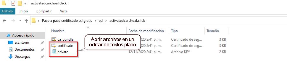 14. Abre los archivos certificate y private en un editor de textos plano