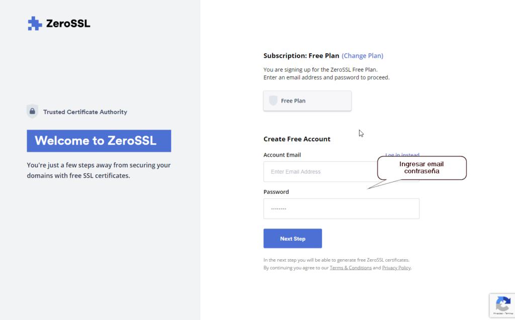 Plataforma zerossl con certificados gratuitos