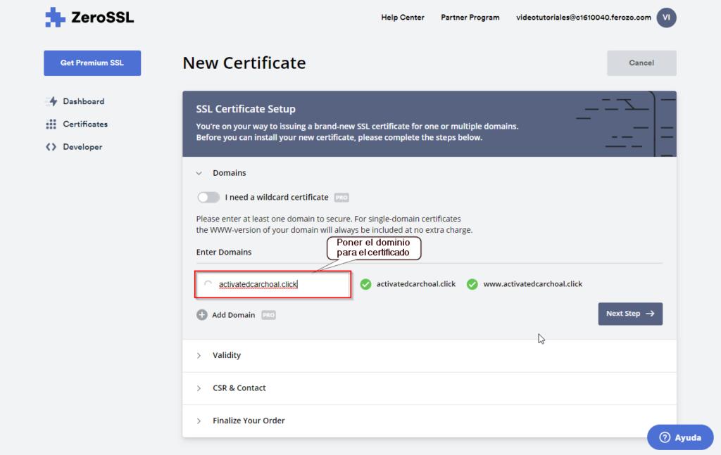 Agregar tu dominio para generar el certificado ssl seguro