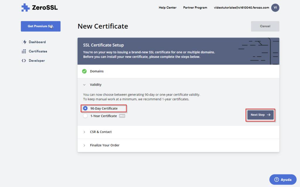5. Selecciona el plan de 90 días para tu certificado SSL