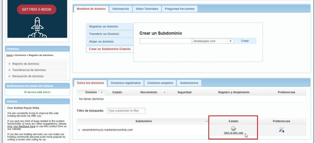 Página web en wordpress en hosting gratis