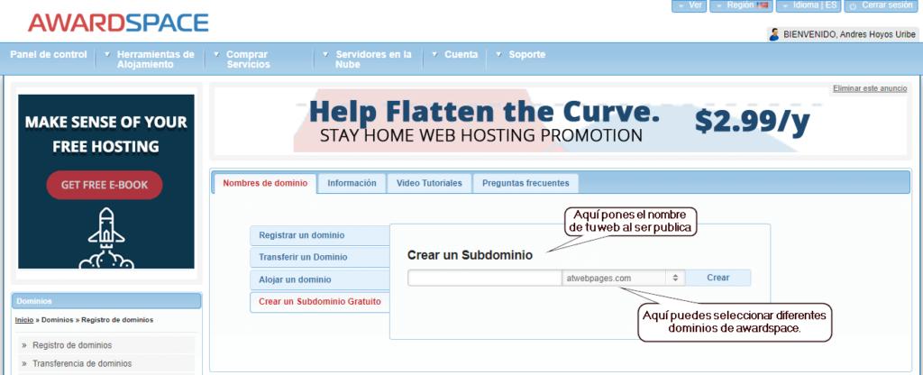 Subdominio gratuito para tu web