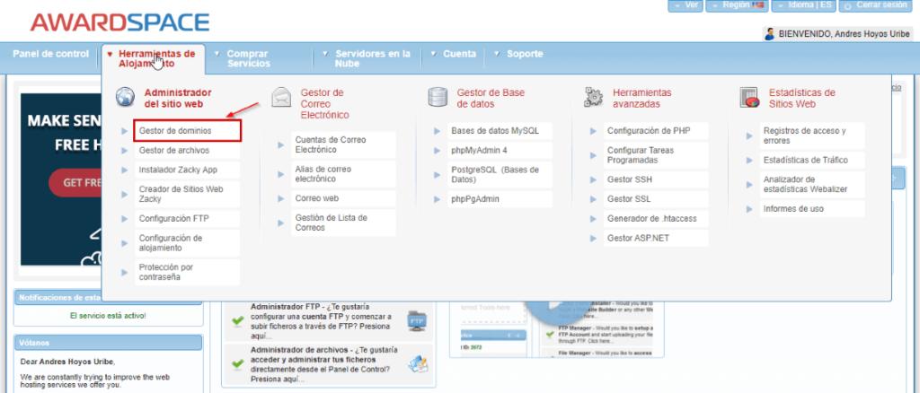 Gestor de dominios del panel de control Cpanel