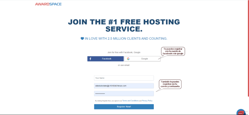 Regístrate para obtener un hosting gratis